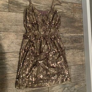 taupe gold sequin dress